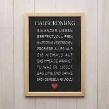 Hausordnung Kreidetafel Kunstdruck Poster A4 Familie Liebe Spruch Herz Geschenk