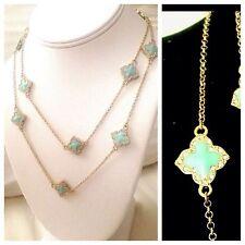 """Gorgeous Light Blue Enamel Quatrefoil Clover Long Gold Sautoir Necklace 36"""""""
