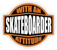 Skateboarder With An Attitude Vinyl Decal / Helmet Sticker Label Skateboard
