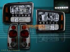 1999 - 2004 FORD F250 / F350 SUPER DUTY BLACK HEADLIGHTS LED + SMOKE TAIL LIGHTS
