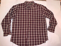 LL Bean Mens Brown And Red Plaid Button Front Shirt Size XL