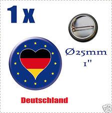 Badge Ø25mm Pays de l'europe des 28, drapeau en forme de coeur ALLEMAGNE