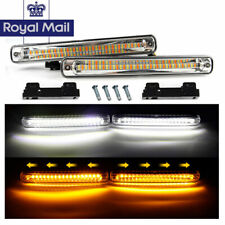 12V LED White Daytime Running Light DRL + Yellow Flowing Turn Signal Light