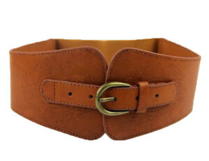 Super Wide Ladies Women Faux Leather Totem Elastic Stretch Corset Cinch Belt