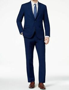 $445 Kenneth Cole 38S Men's Blue Slim Fit 2 Piece Suit Solid Jacket Blazer Pants