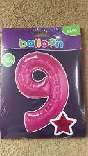 """34"""" Géant Rose Feuille numéro 9 Ballon Hélium Joyeux Anniversaire Fête Cadeaux"""
