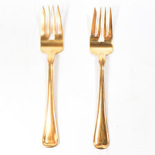 Set of 2 Antique Gorham Gold Plated Sterling Silver Patterned Salad Forks 6.50""