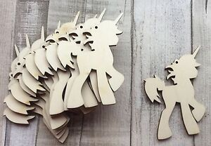 Pack of 10 wood laser cut magical unicorns crafts tags gifts embellishments