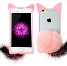3D Bunny Rabbit Fur Clear Back Pink Case Cover for iPhone 6 Plus / 6S Plus