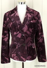 Ann Taylor 10 Plum Purple Floral Career Weekend Blazer Jacket