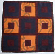 Double sided pocket square handkerchief. Mustard, burgundy & navy blue.