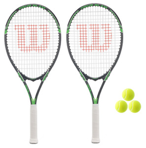 2 x Wilson Tour Slam Green Tennis Rackets + 3 Balls RRP £110
