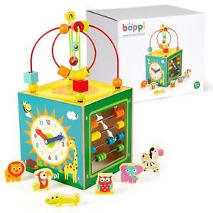boppi Wooden Toy Baby Activity Cube Centre Animal Shape Sorter Child Beads Maze