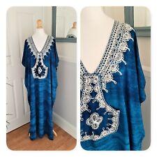 Stunning Vintage Blue Tie Dye Embroidered Maxi Kaftan. Uk Plus Size XXL. Boho