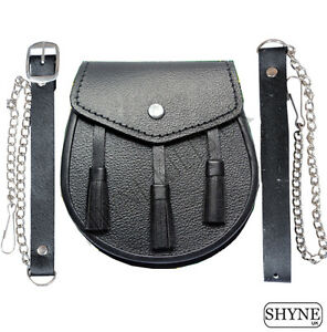 design traditionnel Noir Sporran pour enfants gar/çons SITARAZ Sporran avec cha/îne de kilt en cuir pur
