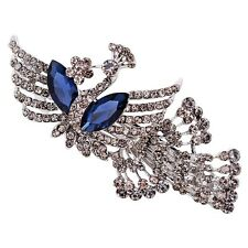 USA Barrette Clip using Swarovski Crystal Hairpin Vintage Peacock Gray Blue