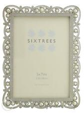 Vintage Ornate Shabby Chic Silver 7x5 inch Photo frame with beads and crystals