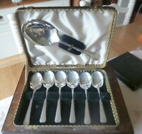 Silver Plated Vintage Art Deco Dessert Spoons & Serving Spoon-1930's-Boxed