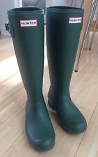 Designer HUNTER Womens Green Tall Wellies Rain Boots Everyday Size 6 37