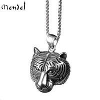 MENDEL Stainless Steel Mens Punk Biker Tiger Head Pendant Necklace Men Silver