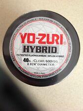 YO-ZURI HYBRID Fluorocarbon 40lb  Line 1-600 Yard Roll CLEAR NEW!