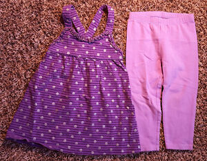 Girl's Size 24 M 18-24 Months 2 Pc Purple Striped Silver Dots Dress & Leggings