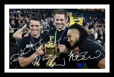 MCCAW & NONU & CARTER - ALL BLACKS SIGNED & FRAMED PP POSTER PHOTO