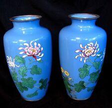 PR. CLOISONNE VASES * ROBIN EGG BLUE w FLOWERS * SILVER RIMS ANTIQUE
