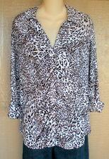 INC 1X Black White Animal Print Spot Button Front Top Shirt Blouse
