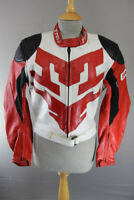 PROTO RED, WHITE & BLACK LEATHER BIKER JACKET + REMOVABLE BACK PROTECTOR SIZE 14