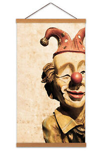 Vintage Circus Clown Doll Model Canvas Wall Art Print Poster with Hanger 24x12