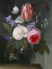 JAN PHILIPS VAN THIELEN FLEMISH ROSES TULIP GLASS VASE ART PRINT POSTER BB5794A
