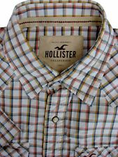 HOLLISTER Shirt Mens 16.5 L White – Orange & Brown Check POPPERS SHORT SLEEVE