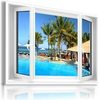 """3D PERFECT HOLIDAYS Window View Canvas Wall Art Picture Large SIZE 33X23"""" W148"""