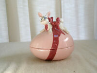 Vintage Ceramic Easter Candy Dish Winking Bunny on Egg Tied in Ribbon