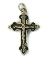 Last Rites Crucifix Reliquary Enameled Sterling Catholic Cross Inner Compartment