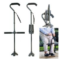 Adjustable Medical Walking Cane Stick Aid Quad Cane Small Base Walker Knee Bar