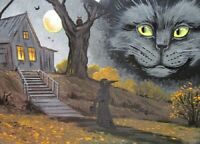 5X7 PRINT OF PAINTING RYTA BLACK CAT HALLOWEEN WITCH SPIRIT HAUNTED HOUSE FALL
