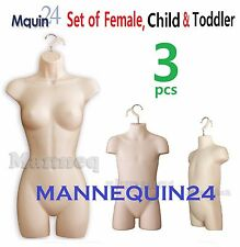 3 Flesh Mannequins Female Child Toddler Torso Dress Forms for Hanging