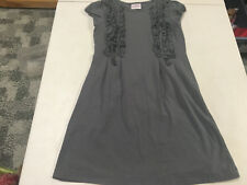 Hanna Andersson Pretty Gray Knit Short Sleeve Ruffle Dress 130 7 8