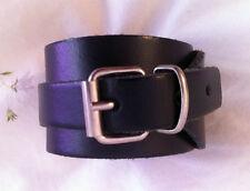 Bracelet de force en cuir 3,7 cm d'épaisseur - Fétiche BDSM leather fetish