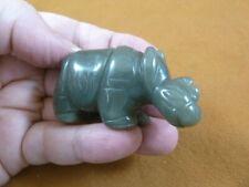 (Y-Rhi-736) green Jade Rhino rhinoceros gemstone Figurine carving I love rhinos