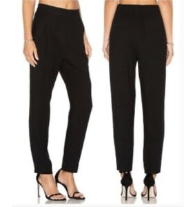 VINCE Women's Black Pull On Tapered Elastic Waist Pants Trousers High Waisted