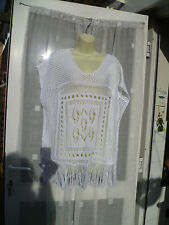 STUNNING NEXT WHITE KNITTED FRINGED TUNIC / TOP / KAFTAN / PONCHO XS GENEROUS