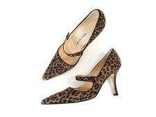 Manolo Blahnik Brown Leopard Suede Pointed Toe Mary Jane Pumps Heels Shoes 37