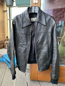vintage leather bomber jacket 34-36 1960s 1970s Hedi skinny punk grunge XS-S