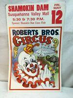 Vtg 1995 Roberts Brothers Circus Clown Poster Pennsylvania Big Top Show 22x14