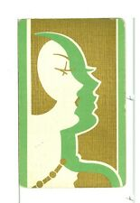 """Single Vintage Playing Card """"Glamour Girl/Profile"""" Art Deco, Green/Gold"""