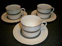 3 FARBERWARE 'DYNASTY PLATINUM'  CUP AND SAUCER SETS
