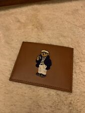 NIB - POLO RALPH LAUREN POLO BEAR NAUTICAL LEATHER CARD CASE SLIM WALLET in TAN
